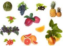 Insieme dell'accumulazione delle bacche e della frutta Fotografia Stock