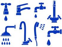 Insieme dell'acqua con l'icona isolata del rubinetto Fotografie Stock