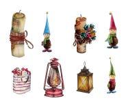 insieme dell'acquerello Decorazioni di Natale, lanterne, regali, gnomi, candele illustrazione di stock
