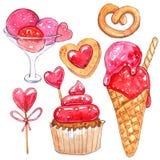 Insieme dell'acquerello degli elementi per il giorno del ` s del biglietto di S. Valentino royalty illustrazione gratis