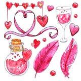 Insieme dell'acquerello degli elementi per il giorno del ` s del biglietto di S. Valentino illustrazione vettoriale