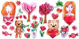 Insieme dell'acquerello degli elementi per il giorno del ` s del biglietto di S. Valentino illustrazione di stock