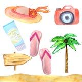Insieme dell'acquerello degli oggetti e degli accessori di estate per una festa su un fondo bianco illustrazione vettoriale