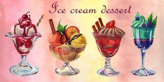 Insieme dell'acquerello dei dessert alla panna del ghiaccio illustrazione vettoriale