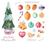 Insieme dell'acquerello del buon anno e di Buon Natale Immagine Stock