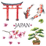 Insieme dell'acquerello del Giappone Fotografia Stock Libera da Diritti