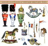 Insieme dell'acquerello delle illustrazioni dei giocattoli militari d'annata illustrazione di stock