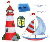 Insieme dell'acquerello delle illustrazioni sul tema marino illustrazione vettoriale