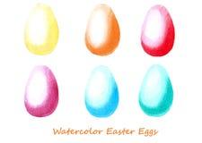 Insieme dell'acquerello delle uova di Pasqua Progetti gli elementi per fondo, l'insegna, progettazione di carta di festa Fotografia Stock Libera da Diritti