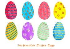 Insieme dell'acquerello delle uova di Pasqua Progetti gli elementi per fondo, l'insegna, progettazione di carta di festa Immagine Stock Libera da Diritti