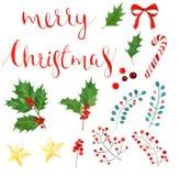 Insieme dell'acquerello di Natale iscrizione, bacche dell'agrifoglio e foglie, bastoncino di zucchero, arco, stella dorata Immagini Stock Libere da Diritti