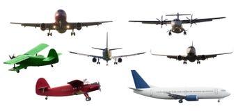 Insieme dell'aeroplano isolato Immagine Stock