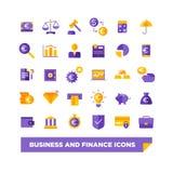 Insieme dell'affare e delle icone di finanza Fotografie Stock