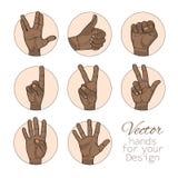 Insieme dell'afroamericano delle mani royalty illustrazione gratis