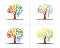 Insieme dell'albero con il modello di progettazione di logo del cervello, vettore di progettazione di logo di Brain Colorful royalty illustrazione gratis