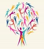 Insieme dell'albero di colori dell'essere umano di diversità Immagine Stock Libera da Diritti