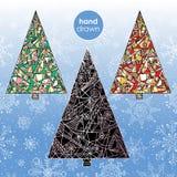 Insieme dell'albero di natale Illustrazioni astratte dell'albero di abete di Natale Fondo disegnato a mano di vacanze invernali Immagine Stock Libera da Diritti