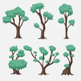 Insieme dell'albero di verde blu di vettore del fumetto Immagine Stock Libera da Diritti
