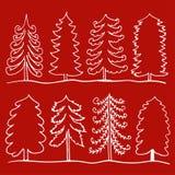Insieme dell'albero disegnato a mano del profilo sull'illustrazione del fondo royalty illustrazione gratis