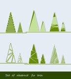Insieme dell'albero e del pino di abete astratti Illustrazione di vettore Fotografie Stock