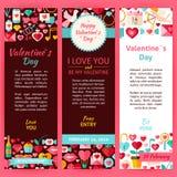Insieme dell'aletta di filatoio del modello di Valentine Day Vector Party Invitation Fotografie Stock Libere da Diritti