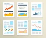 Insieme dell'aletta di filatoio, modelli di progettazione dell'opuscolo finanziario Fotografia Stock Libera da Diritti