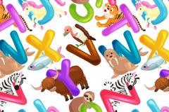 Insieme dell'alfabeto per le lettere dei bambini, istruzione degli animali di ABC di divertimento del fumetto in scuola materna Fotografie Stock