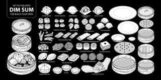 Insieme dell'alimento cinese isolato della siluetta bianca, Dim Sum per configurazione il vostri propri Illustrazione disegnata a Immagini Stock Libere da Diritti