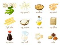 Insieme dell'alimento della soia del fumetto - latte, salsa, carne, tofu, miso e così Vector l'illustrazione, su bianco, ENV 10 illustrazione vettoriale