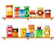 Insieme dell'alimento inscatolato illustrazione di stock