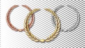 Insieme dell'alloro del premio isolato su un fondo trasparente In primo luogo, secondo e terzo posto Modello del vincitore Simbol illustrazione di stock