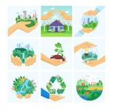 Insieme dell'ambiente di protezione Città pulita, bacini idrici, paesaggio, risorse alternative illustrazione vettoriale