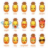 Insieme dell'ananas divertente degli emoticon Immagine Stock Libera da Diritti