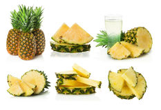 Insieme dell'ananas su fondo bianco Fotografie Stock