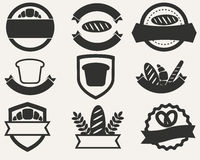 Insieme dell'annata del logos di pane e del forno Illustrazione di vettore Fotografia Stock