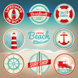 Etichette e distintivi della spiaggia dell'annata Fotografia Stock Libera da Diritti