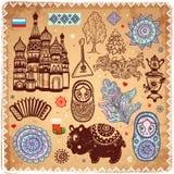 Insieme dell'annata delle icone russe Fotografie Stock