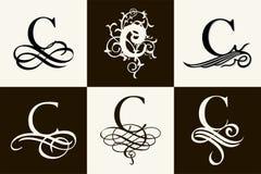 insieme dell'annata Lettera maiuscola C per i monogrammi ed il logos Bella fonte a filigrana Stile vittoriano Immagini Stock Libere da Diritti