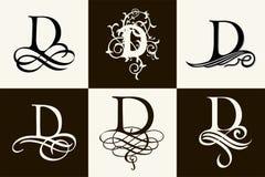insieme dell'annata Lettera maiuscola D per i monogrammi ed il logos Bella fonte a filigrana Stile vittoriano Immagini Stock