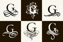 insieme dell'annata Lettera maiuscola G per i monogrammi ed il logos Bella fonte a filigrana Stile vittoriano Immagine Stock Libera da Diritti