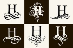 insieme dell'annata Lettera maiuscola H per i monogrammi ed il logos Fotografie Stock Libere da Diritti