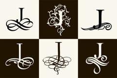 insieme dell'annata Lettera maiuscola J per i monogrammi ed il logos Bella fonte a filigrana Stile vittoriano Immagini Stock