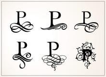 insieme dell'annata Lettera maiuscola P per i monogrammi ed il logos Bella fonte a filigrana Stile vittoriano Fotografie Stock Libere da Diritti