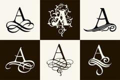 insieme dell'annata Lettera maiuscola A per i monogrammi ed il logos Bella fonte a filigrana Stile vittoriano Immagini Stock Libere da Diritti