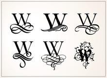 insieme dell'annata Lettera maiuscola W per i monogrammi ed il logos Fotografia Stock Libera da Diritti
