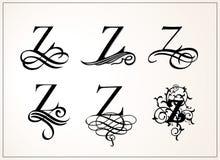 insieme dell'annata Lettera maiuscola Z per i monogrammi ed il logos Bella fonte a filigrana Stile vittoriano Fotografia Stock Libera da Diritti