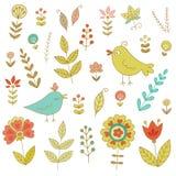 Insieme dell'annata per la vostra progettazione con gli uccelli ed i fiori Fotografia Stock