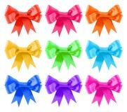 Insieme dell'arco del regalo del raso di colori del Rainbow Fotografia Stock
