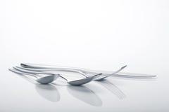 Insieme dell'argenteria della forchetta, dei cucchiai e del coltello Fotografia Stock