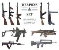 Insieme dell'arma da fuoco Arma automatica, mitragliatrice Progettazione piana Immagine Stock Libera da Diritti